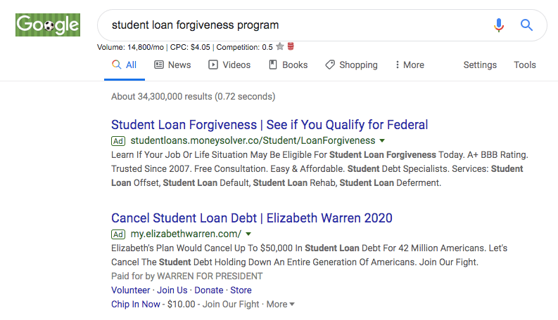 student loan forgiveness search results