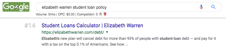 liz warren seo student loan policy