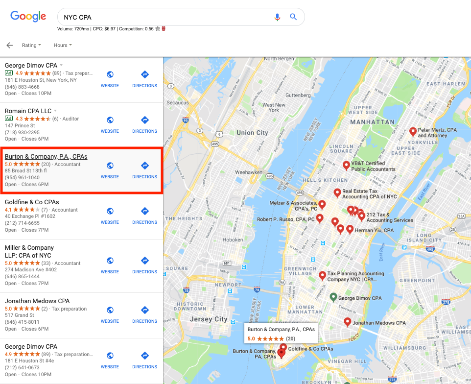 Google Local Map Stack