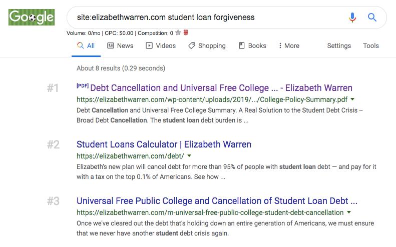 elizabeth warren seo student loans