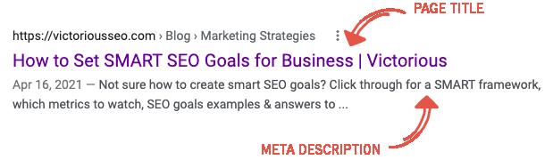 seo content blog template page title and meta description