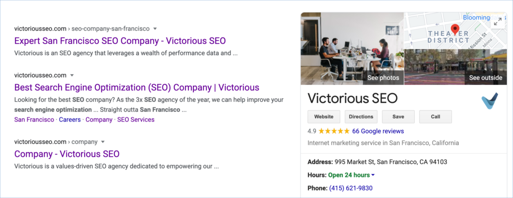 Screenshot of real business information on Google search results