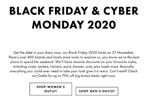 example of a black friday SEO strategy