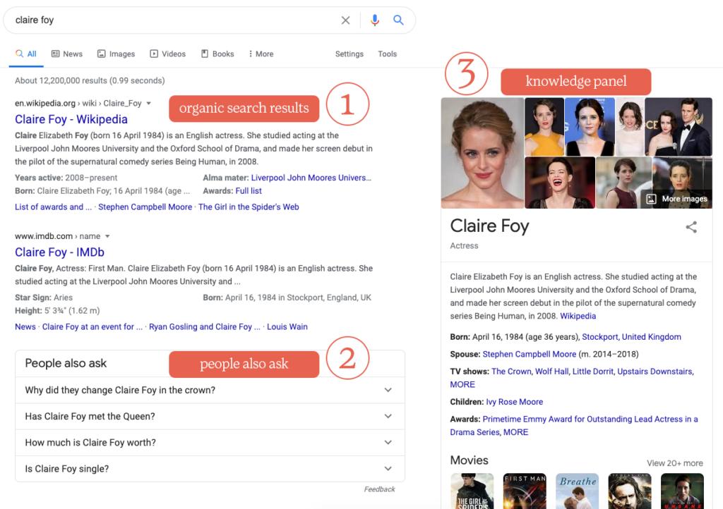 screenshot of Google SERPs features
