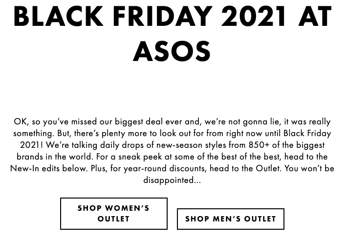 example of an evergreen black friday deals page