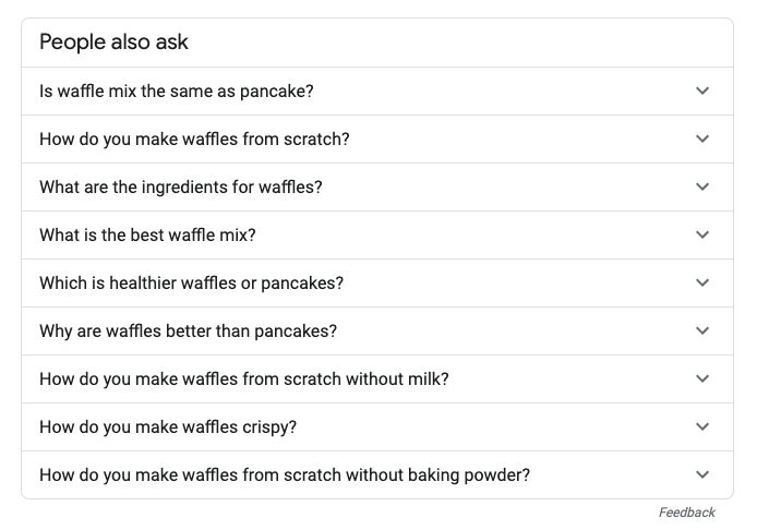 example of how Google's people also ask shows search intent