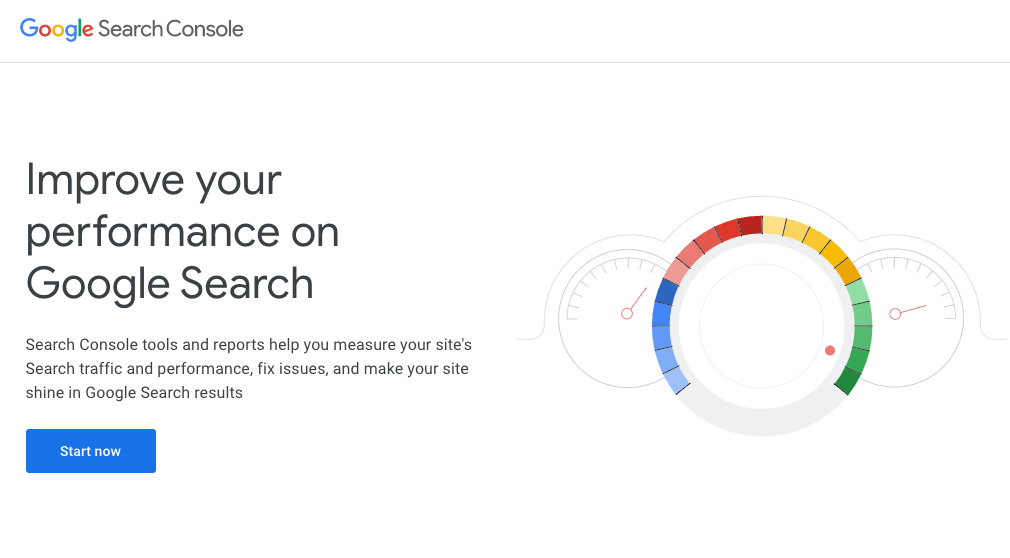 Screenshot of Google Search Console start page