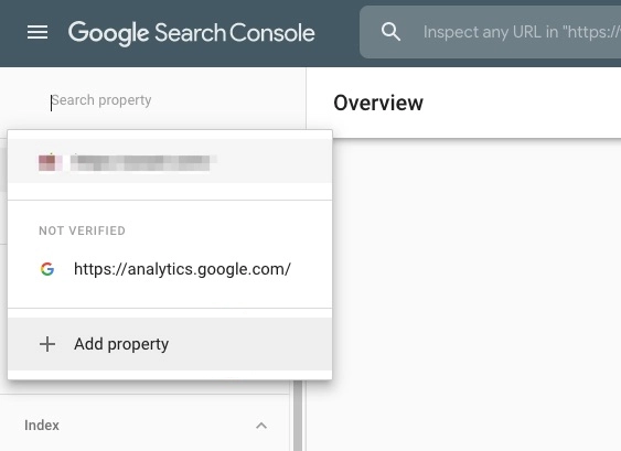 Screenshot of adding a property to google search console