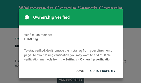 screenshot of verifying a site in GSC