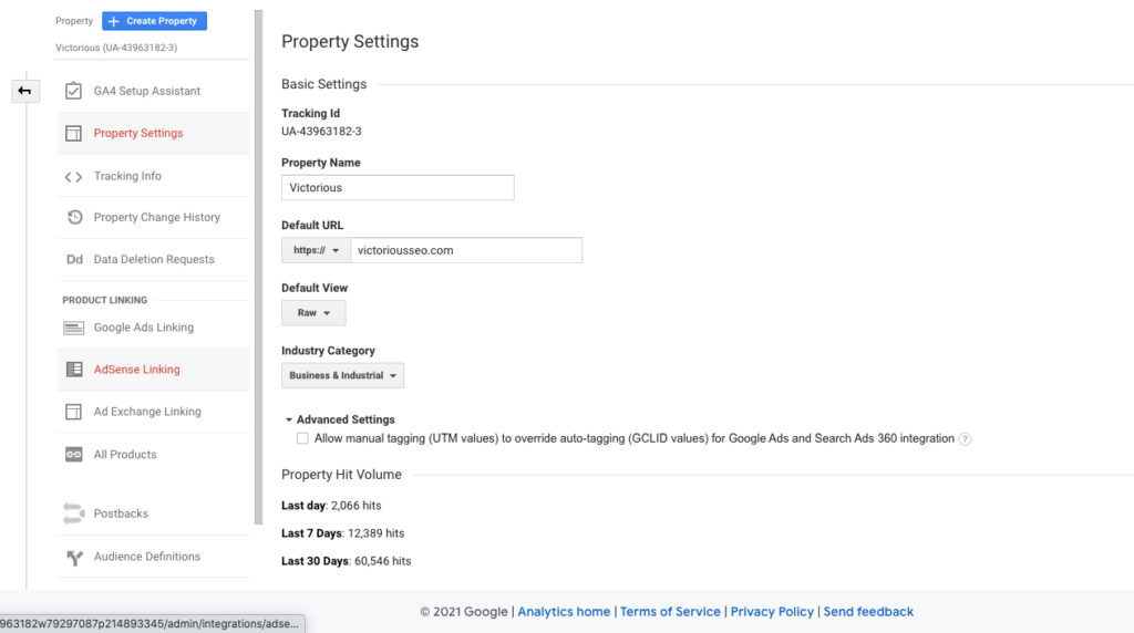 property settings in google searchconsole