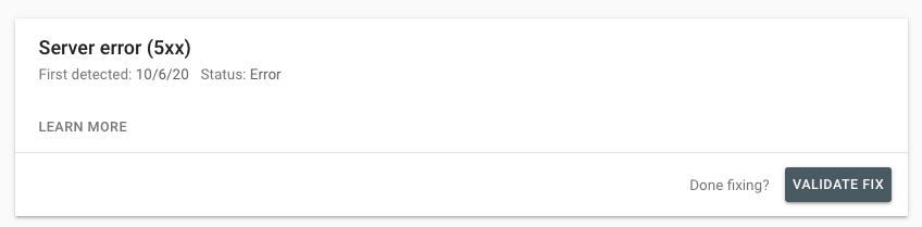 validate errors in google search console