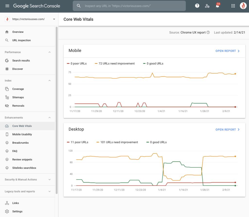 screenshot of core web vitals report in gsc