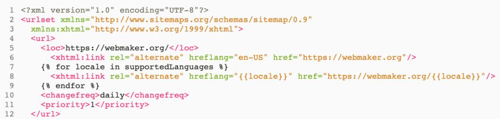 screenshot of sitemap.xml with hreflang links