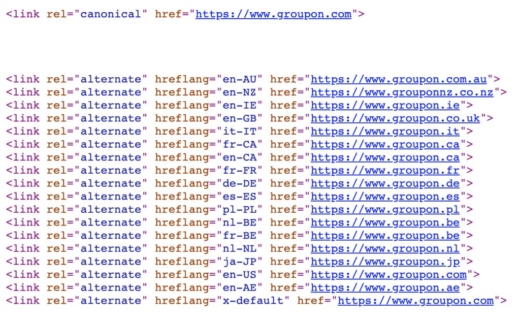 a screenshot of using hreflang tags on a page