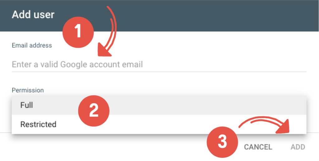 Add new user email address and assign permissions