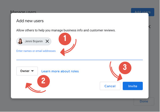 Where to assign Google My Business user roles