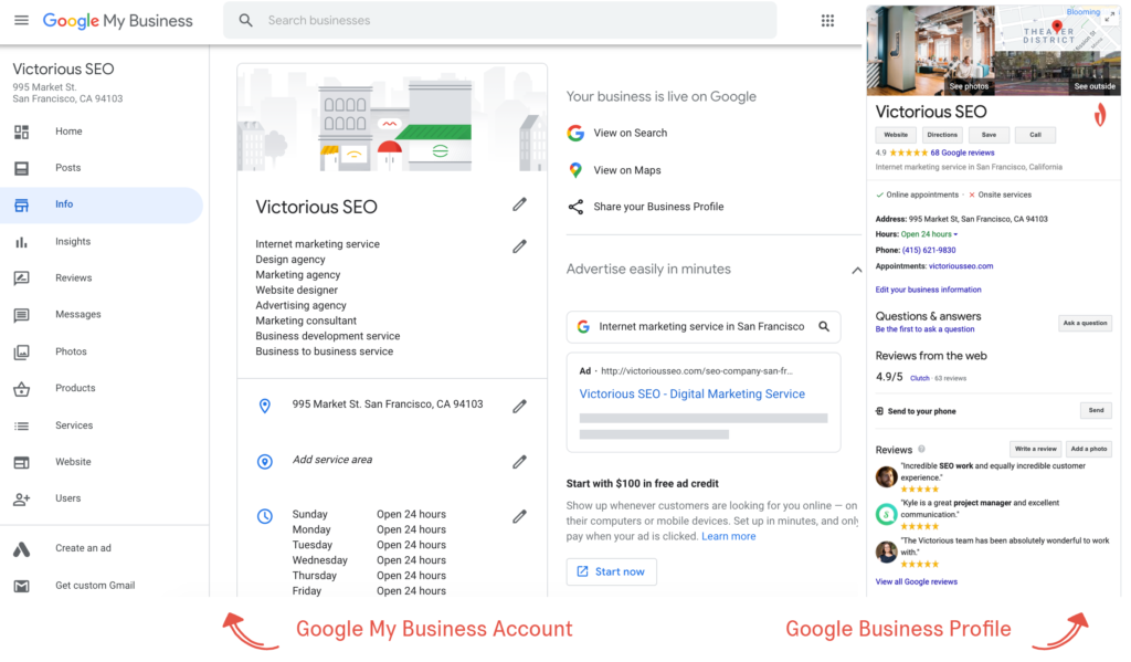 The difference between a Google My Business account and business profile.