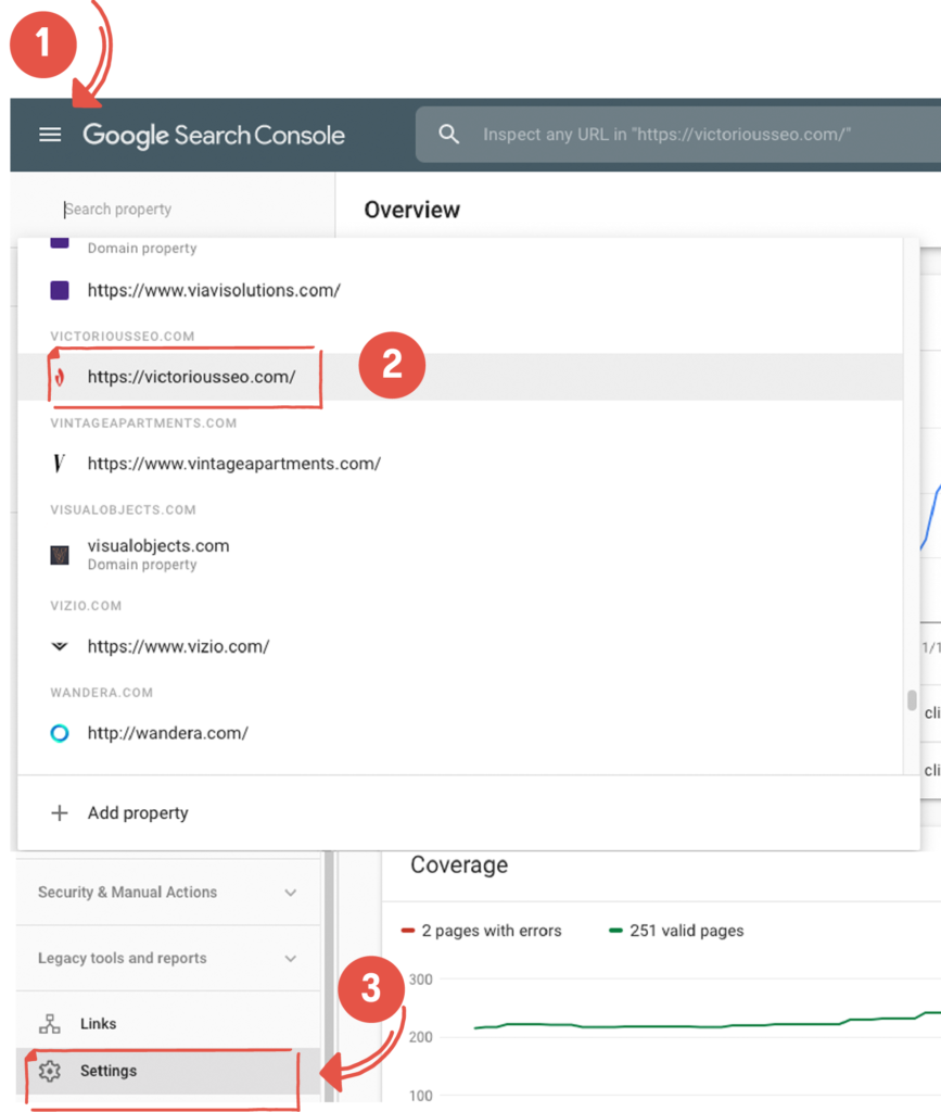 Log-in to Google Search Console