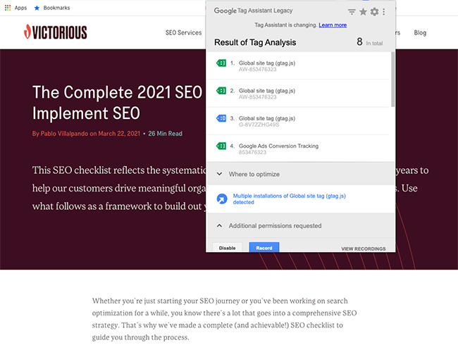 seo chrome extensions tag assistant