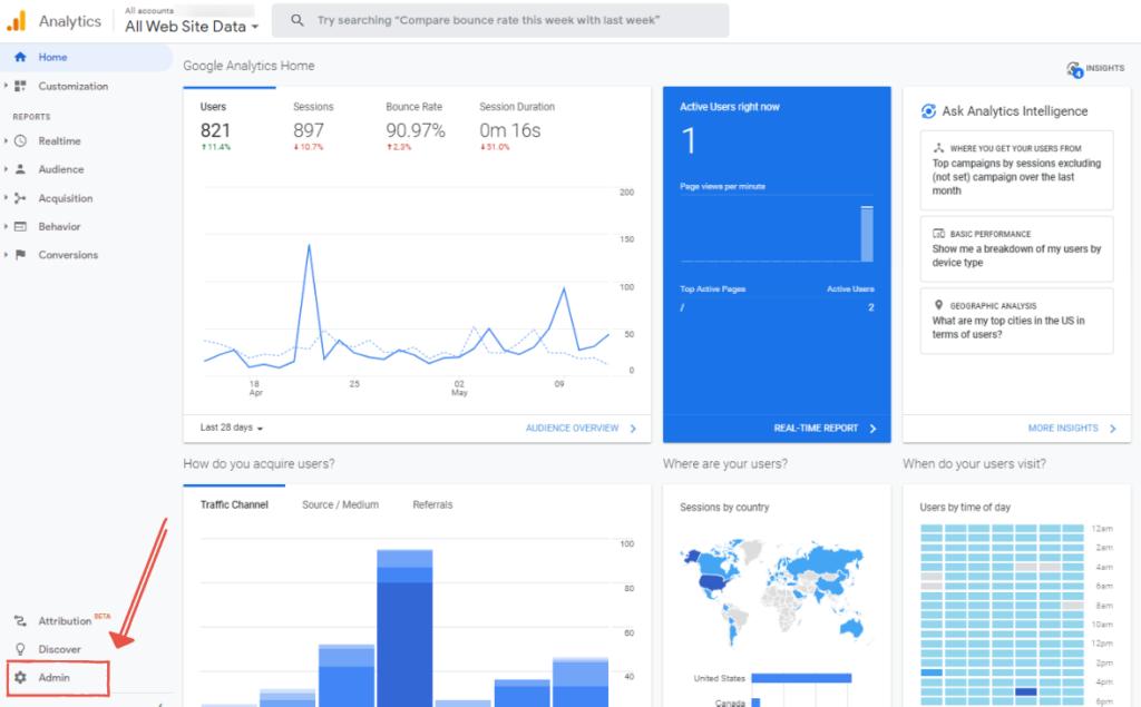 Google Analytics Starter Guide - Admin Tab