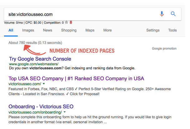 how to find indexed pages with a site search
