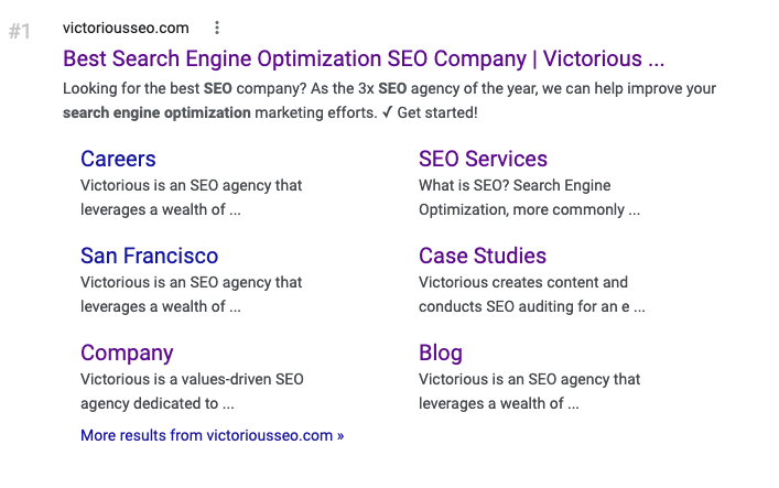 sitelinks are a benefit of site architecture for SEO