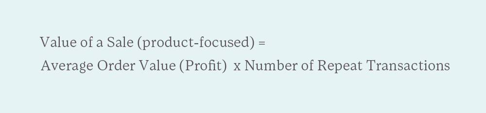 formula for value of a sale for a product-focused business