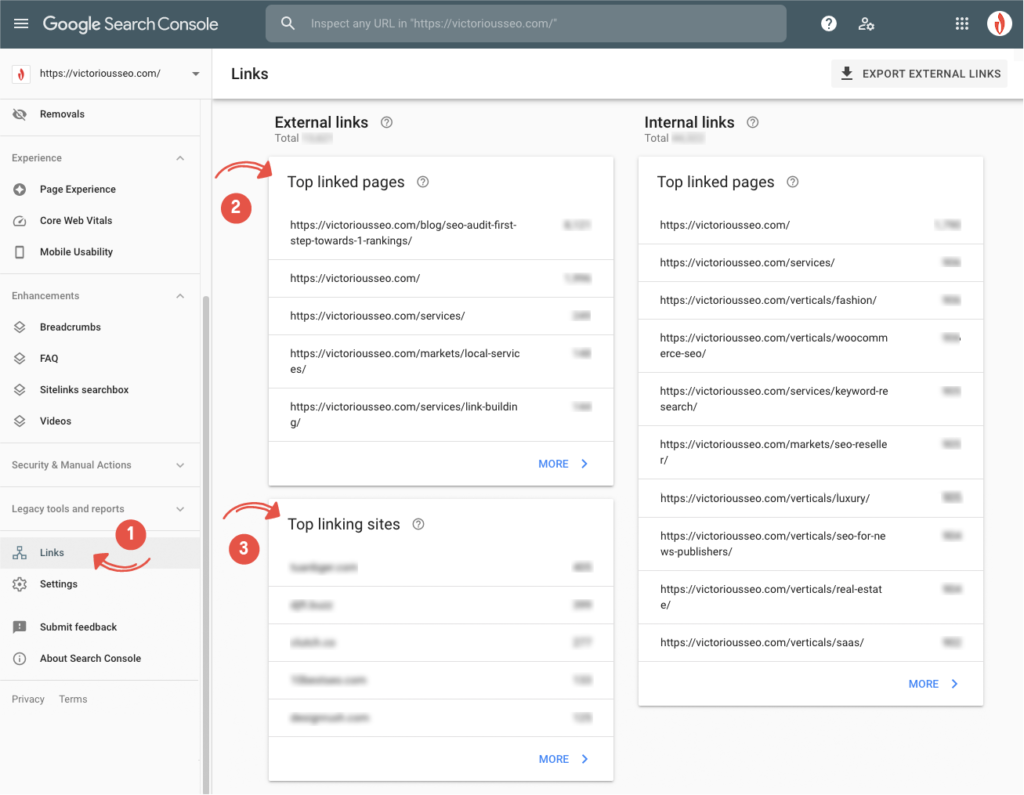 Site linking report in Google Search Console