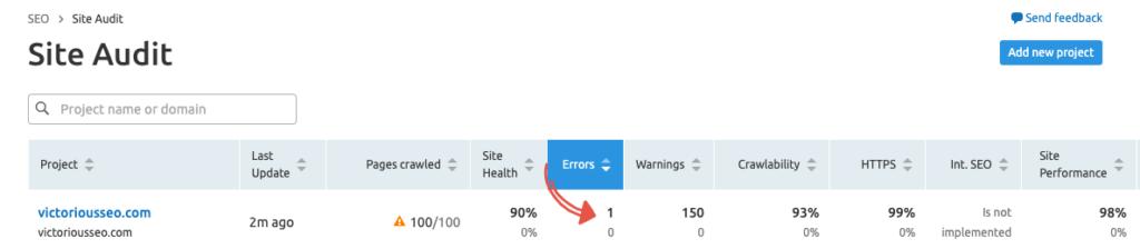 finding broken links with semrush